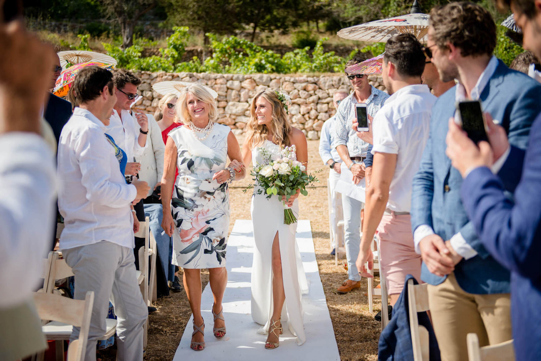 ceremony arrival mother of bride country view pronovia garden wedding zoe hardman hello magazine