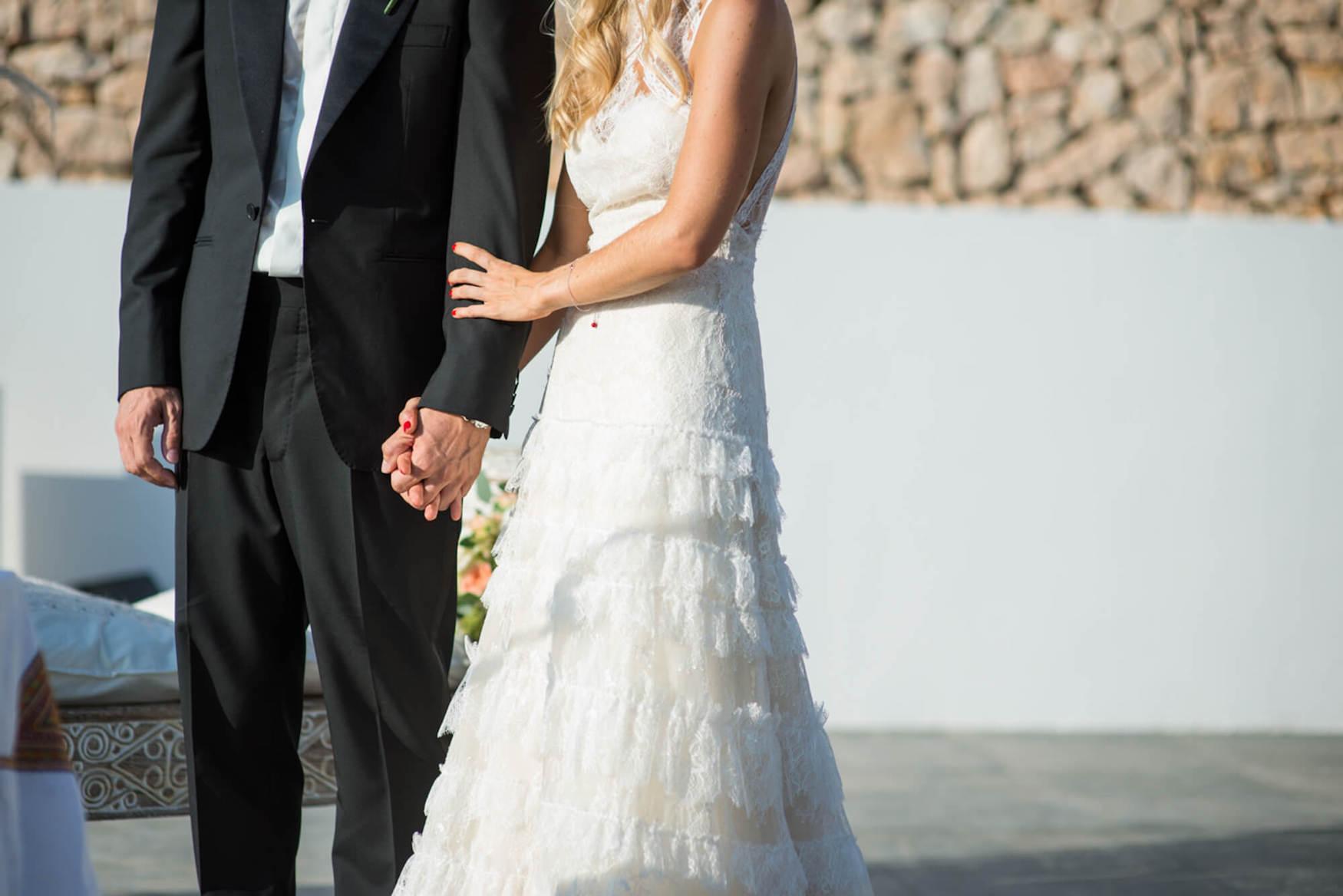 bride groom sunset ceremony laughter happy tears black tie flower crown pronovias dress