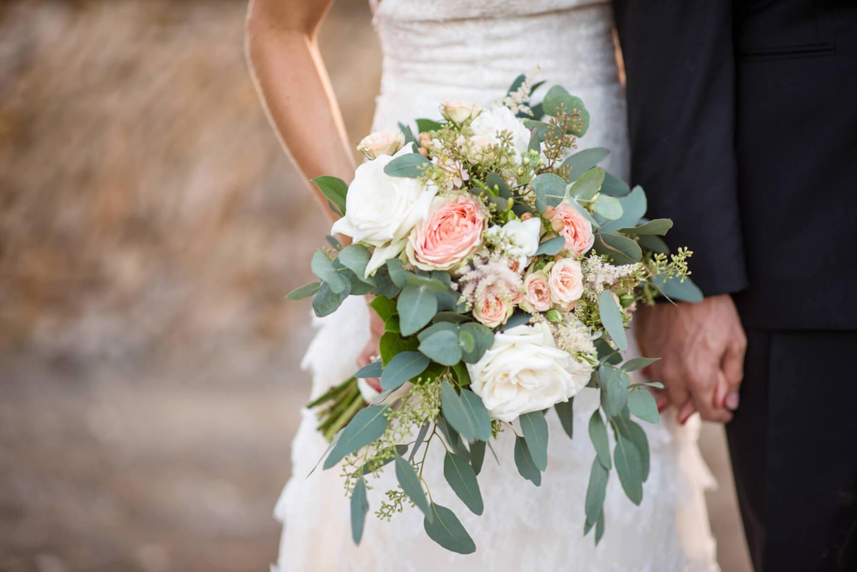 wedding flowers bouquet pink roses eucaliptus