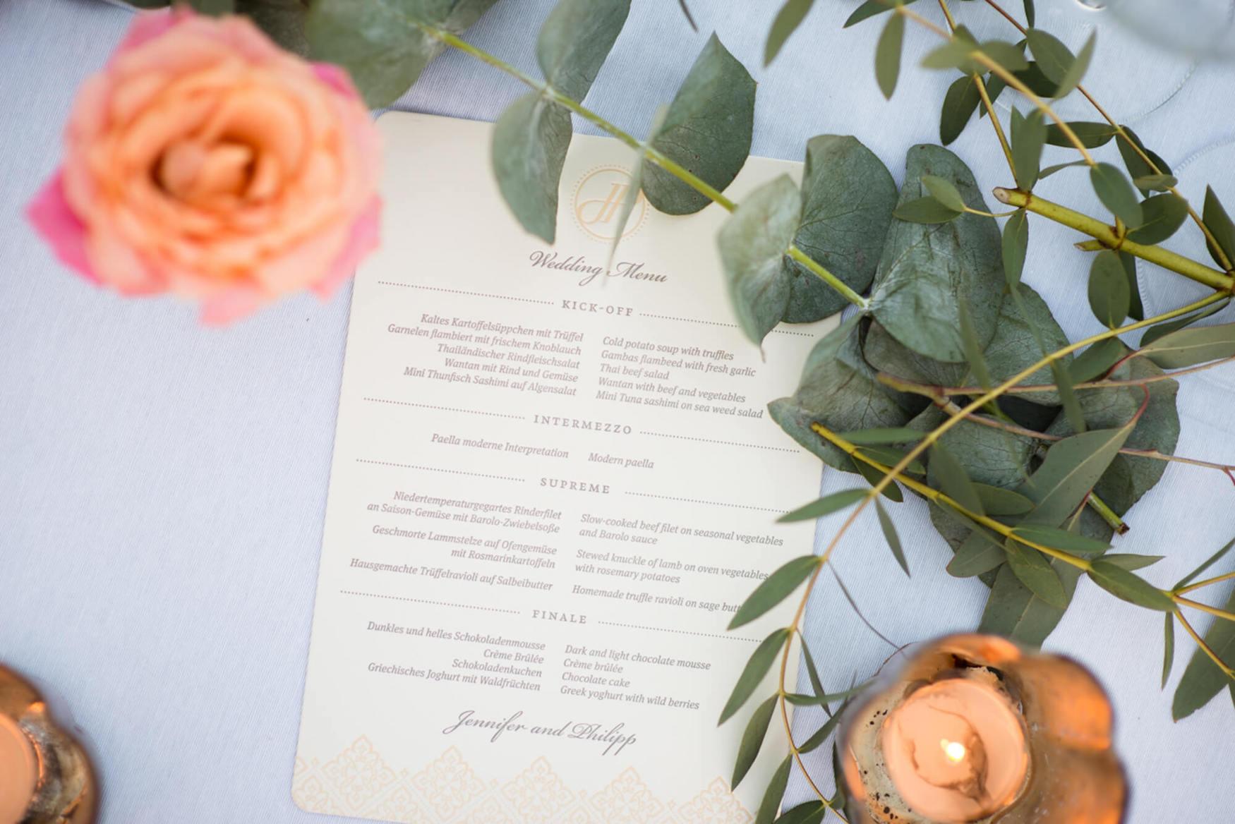 wedding dinner menu embossed tea lights flower table centers