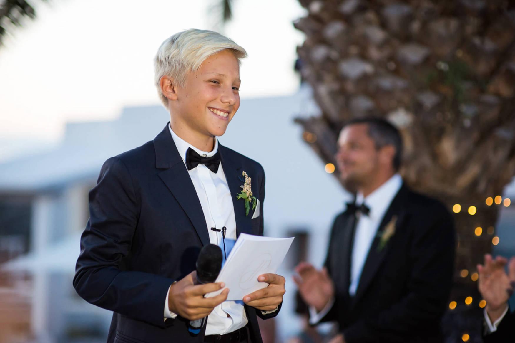 bride groom laughter brother speech fairy lights black tie