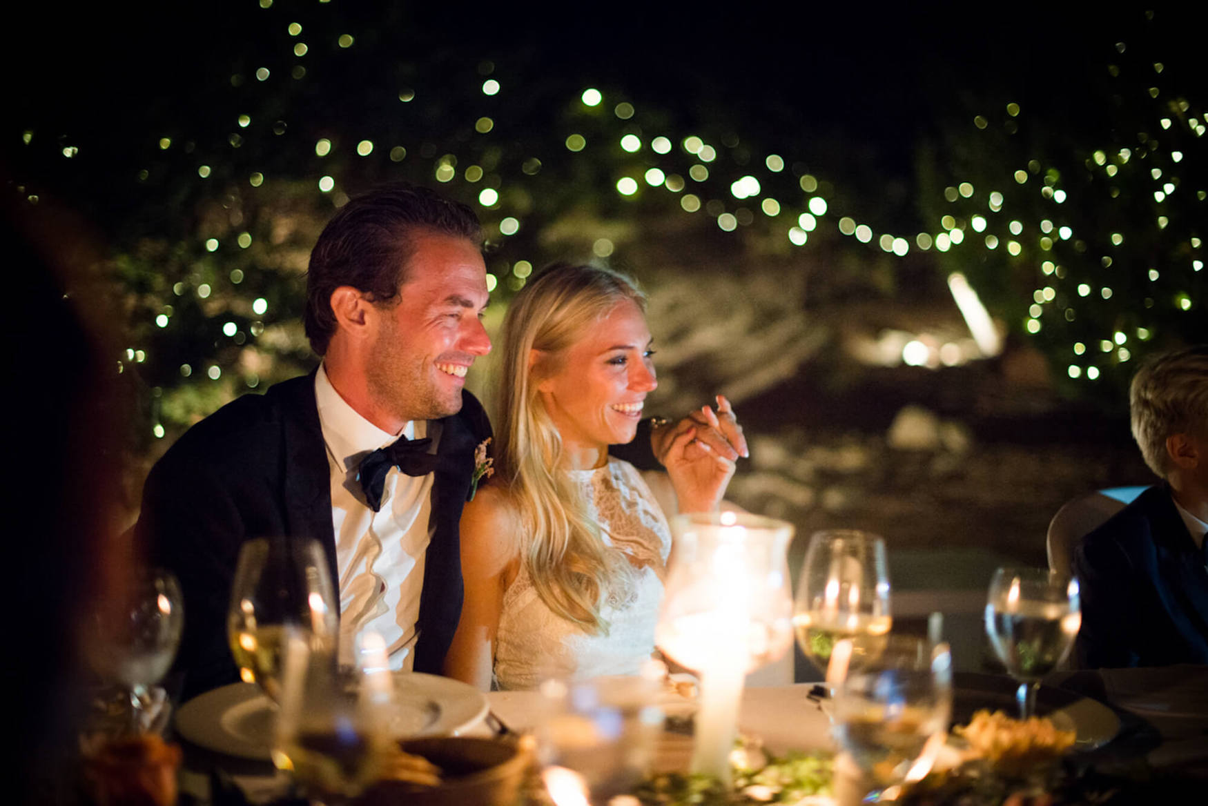 bride groom laughter father of bride speech fairy lights