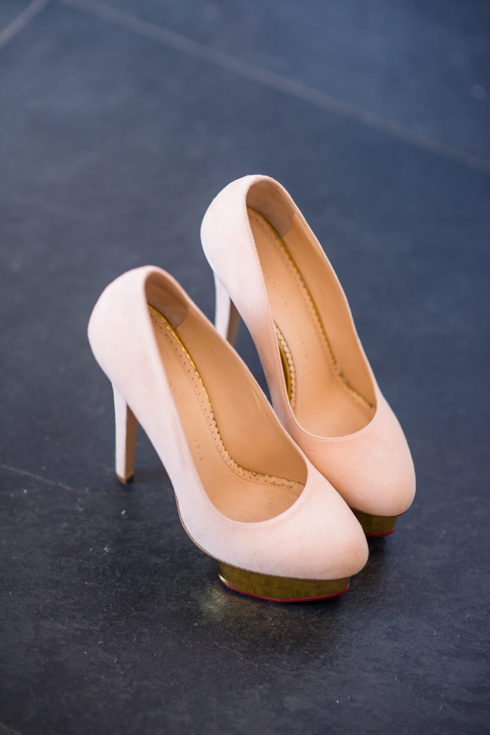 pink suede high heals bridal shoes
