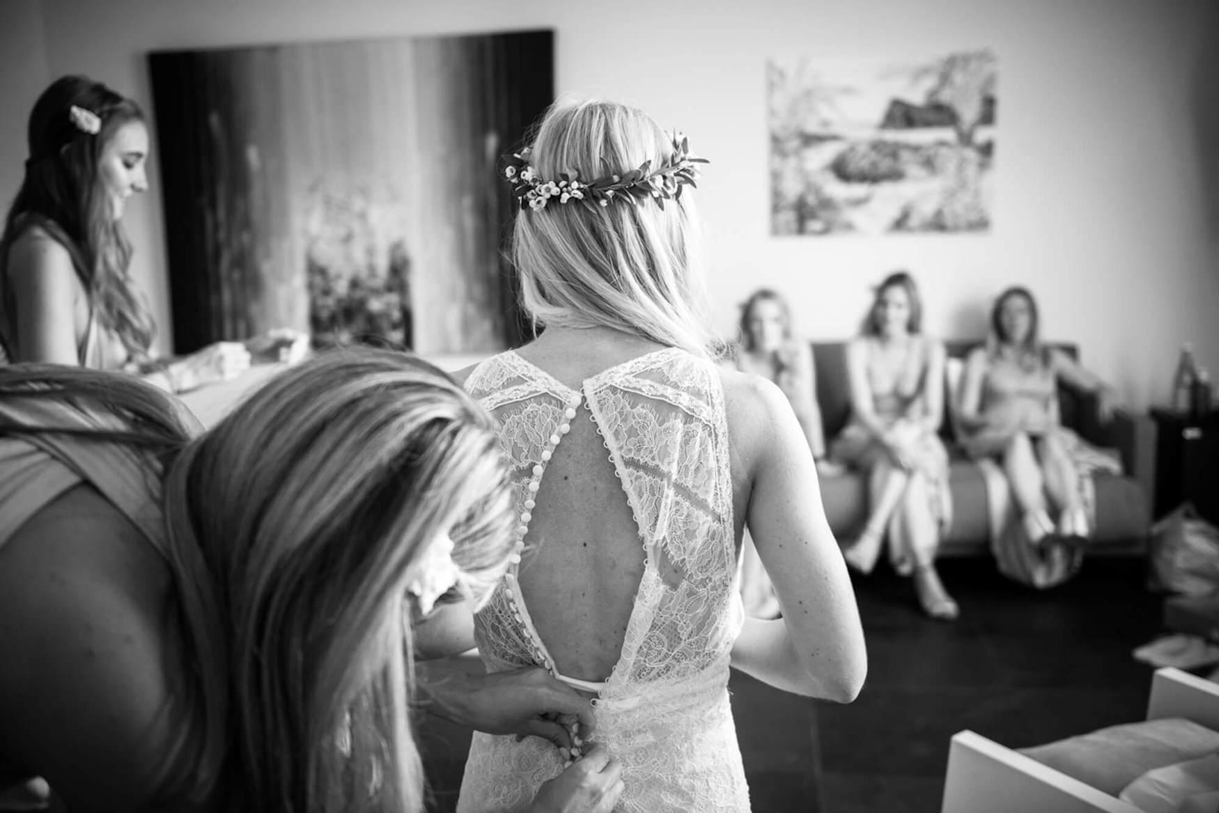 bridesmaids pronovias wedding dress flower crown olive leaves