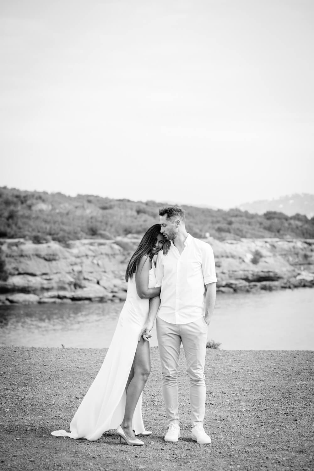 couple engagement session ibiza beach pou des lleo happy couple dress in wind